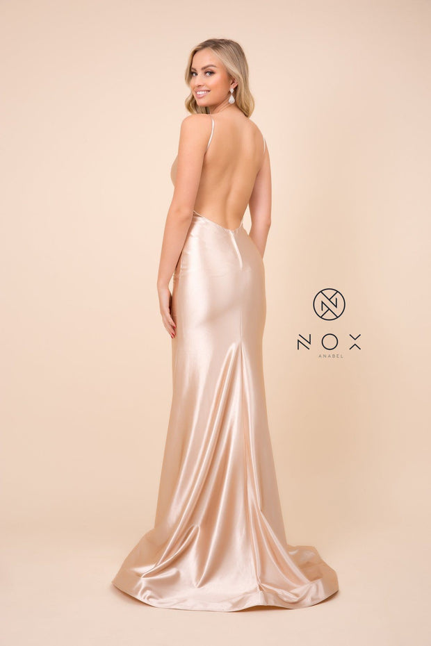 Satin Long V-Neck Dress with Open Back by Nox Anabel C227