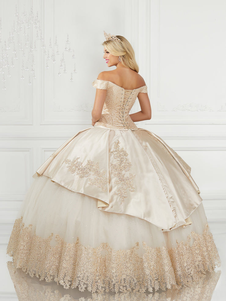 Satin Off Shoulder Quinceanera Dress by LA Glitter 24078