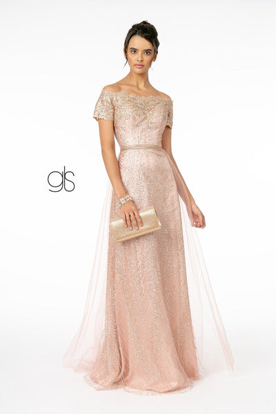 Scalloped Long Off Shoulder Glitter Dress by Elizabeth K GL2942