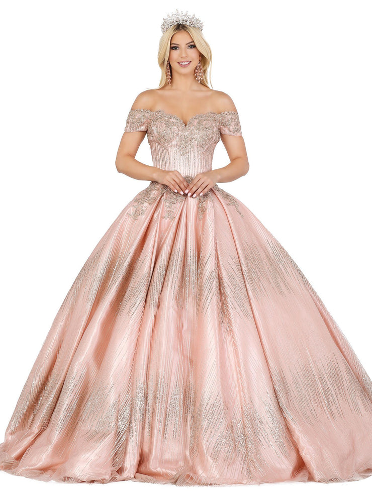 Scalloped Off Shoulder Glitter Ball Gown by Dancing Queen 1425