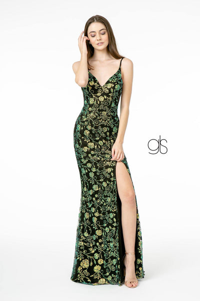 Sequin and Glitter Floral Print Dress with Slit by Elizabeth K GL1811