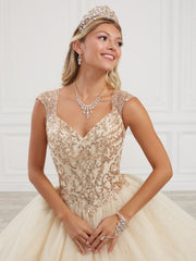 Sequin Cap Sleeve Quinceanera Dress by Fiesta Gowns 56418