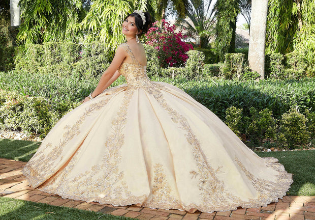 Sequin Cap Sleeve Quinceanera Dress by Mori Lee Valencia 60121