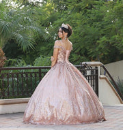 Sequin Cold Shoulder Glitter Ball Gown by Dancing Queen 1515