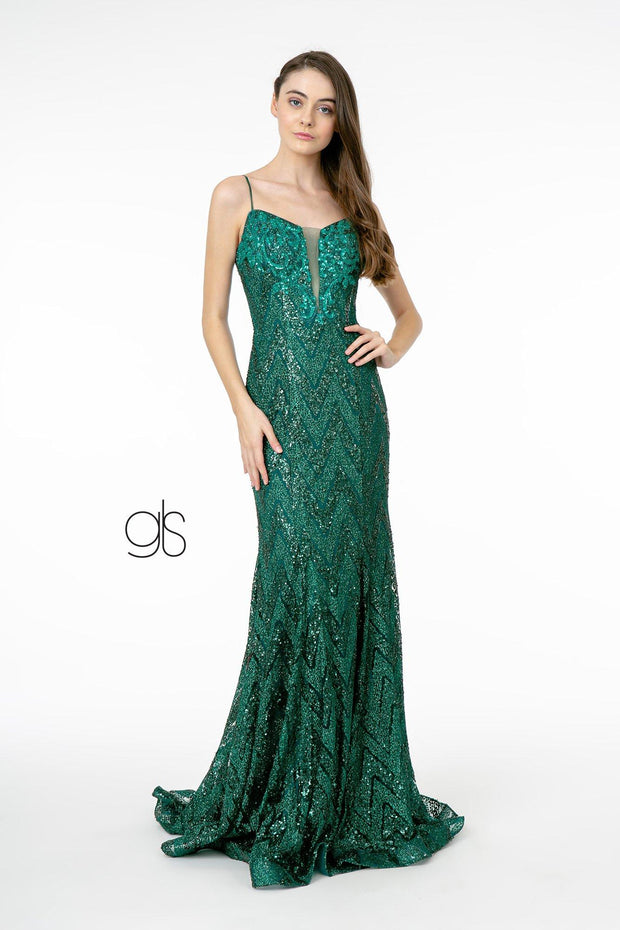 Sequin Deep V-Neck Trumpet Gown by Elizabeth K GL2950
