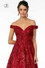 Sequin Embroidered Long Off Shoulder Dress by Elizabeth K GL2944