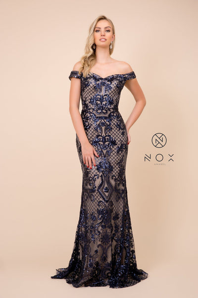 Sequin Embroidered Long Off Shoulder Dress by Nox Anabel T310