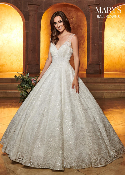 Sequin Embroidered Wedding Dress by Mary's Bridal MB6049-Wedding Dresses-ABC Fashion