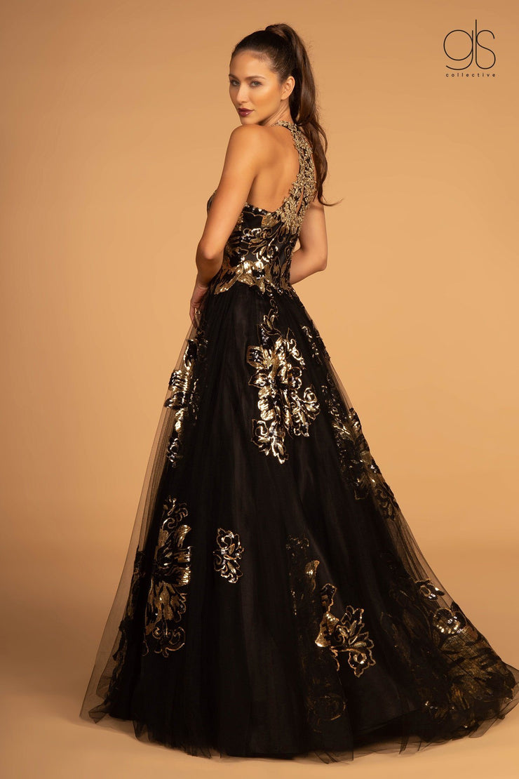 Sequin Floral Print Halter Evening Dress by GLS Gloria GL2655-Long Formal Dresses-ABC Fashion