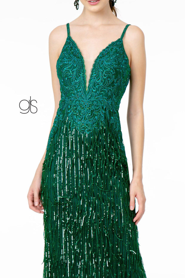 Sequin Fringed V-Neck Mermaid Dress by Elizabeth K GL1824