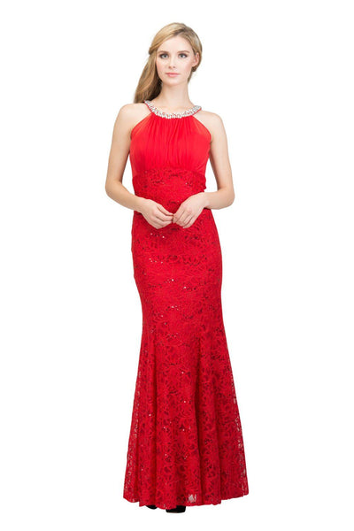 Sequin Lace Halter Mermaid Gown by Star Box 6331-Long Formal Dresses-ABC Fashion