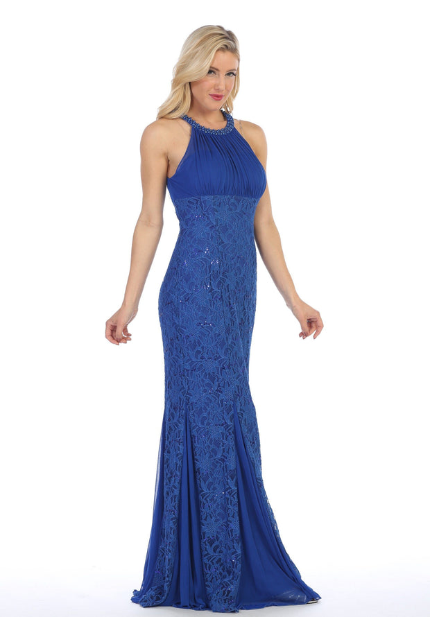 Sequin Lace Long Halter Mermaid Dress by Celavie 8300-Long Formal Dresses-ABC Fashion