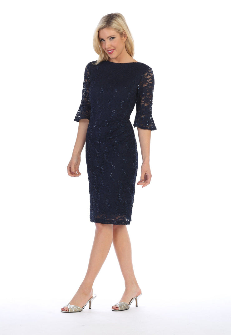 Sequin Lace Short Dress with Mid-Length Sleeves by Celavie 6331-Short Cocktail Dresses-ABC Fashion