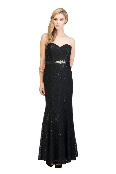 Sequin Lace Strapless Mermaid Gown by Star Box 6176-Long Formal Dresses-ABC Fashion