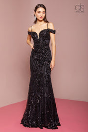 Sequin Long Cold Shoulder Mermaid Dress by Elizabeth K GL2552-Long Formal Dresses-ABC Fashion