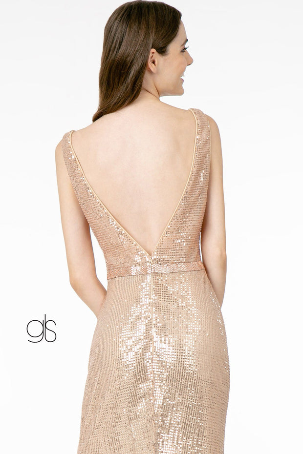Sequin Long Fitted Deep V-Neck Dress by Elizabeth K GL2957