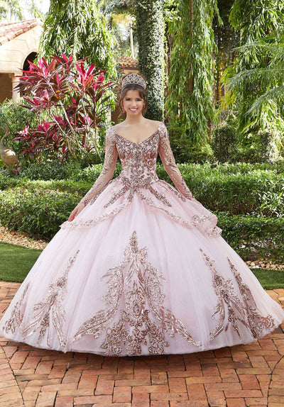 Sequin Long Sleeve Quinceanera Dress by Mori Lee Valencia 60128