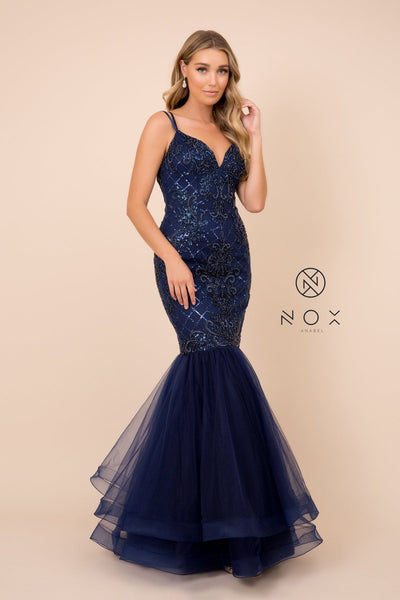 Sequin Mermaid Dress with Corset Back by Nox Anabel H399