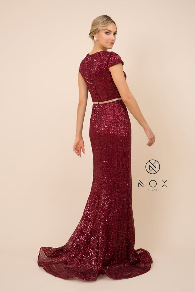 Sequin Mermaid Gown with Short Sleeves by Nox Anabel F338