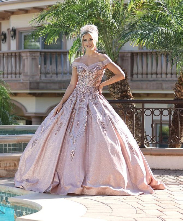 Sequin Off Shoulder Glitter Ball Gown by Dancing Queen 1511