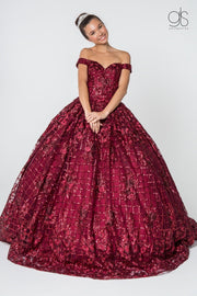 Sequin Pattern Off the Shoulder Ball Gown by Elizabeth K GL2803-Quinceanera Dresses-ABC Fashion