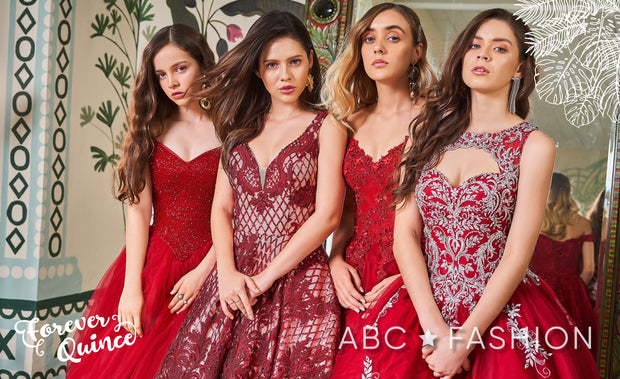 Sequin Pattern V-Neck Quinceanera Dress by Forever Quince FQ806-Quinceanera Dresses-ABC Fashion