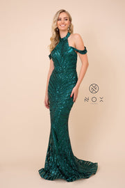 Sequin Print Cold Shoulder Mermaid Dress by Nox Anabel E377