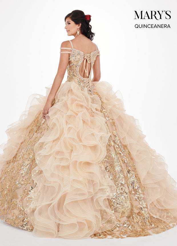 Sequin Print Cold Shoulder Quinceanera Dress by Mary's Bridal MQ2065-Quinceanera Dresses-ABC Fashion
