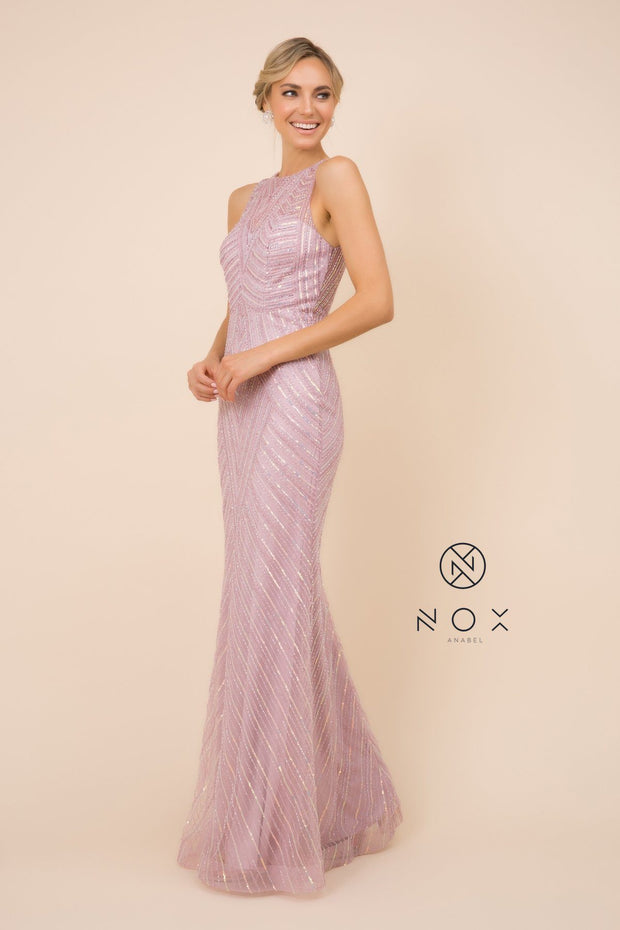 Sequin Print Long Fitted Sleeveless Dress by Nox Anabel H404