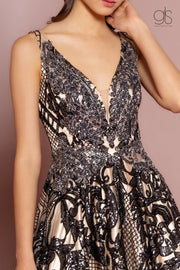 Sequin Print Long Illusion V-Neck Dress by GLS Gloria GL2538-Long Formal Dresses-ABC Fashion