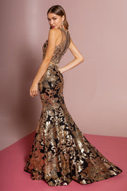 Sequin Print Long Mock Two-Piece Dress by Elizabeth K GL2272