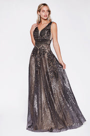 Sequin Print Long V-Neck Dress by Cinderella Divine CD09-Long Formal Dresses-ABC Fashion