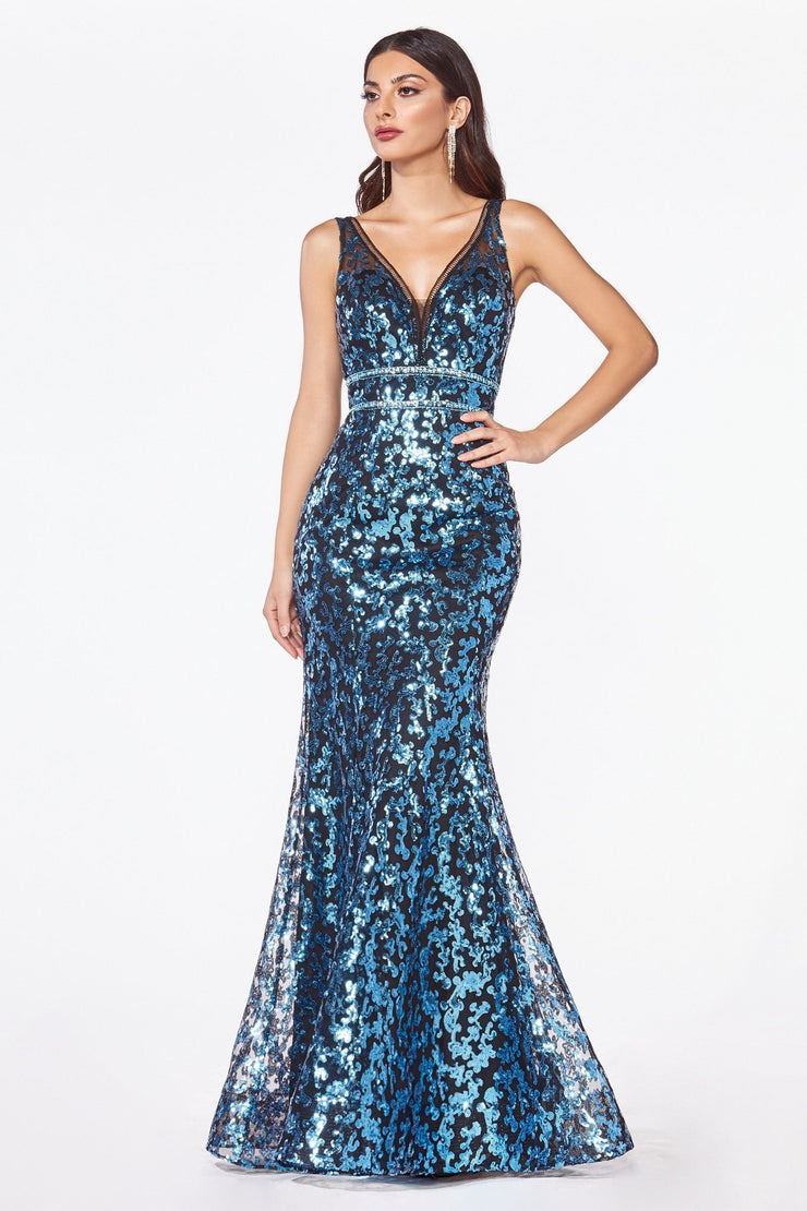 Sequin Print Mermaid Dress with Open Back by Cinderella Divine CM9171