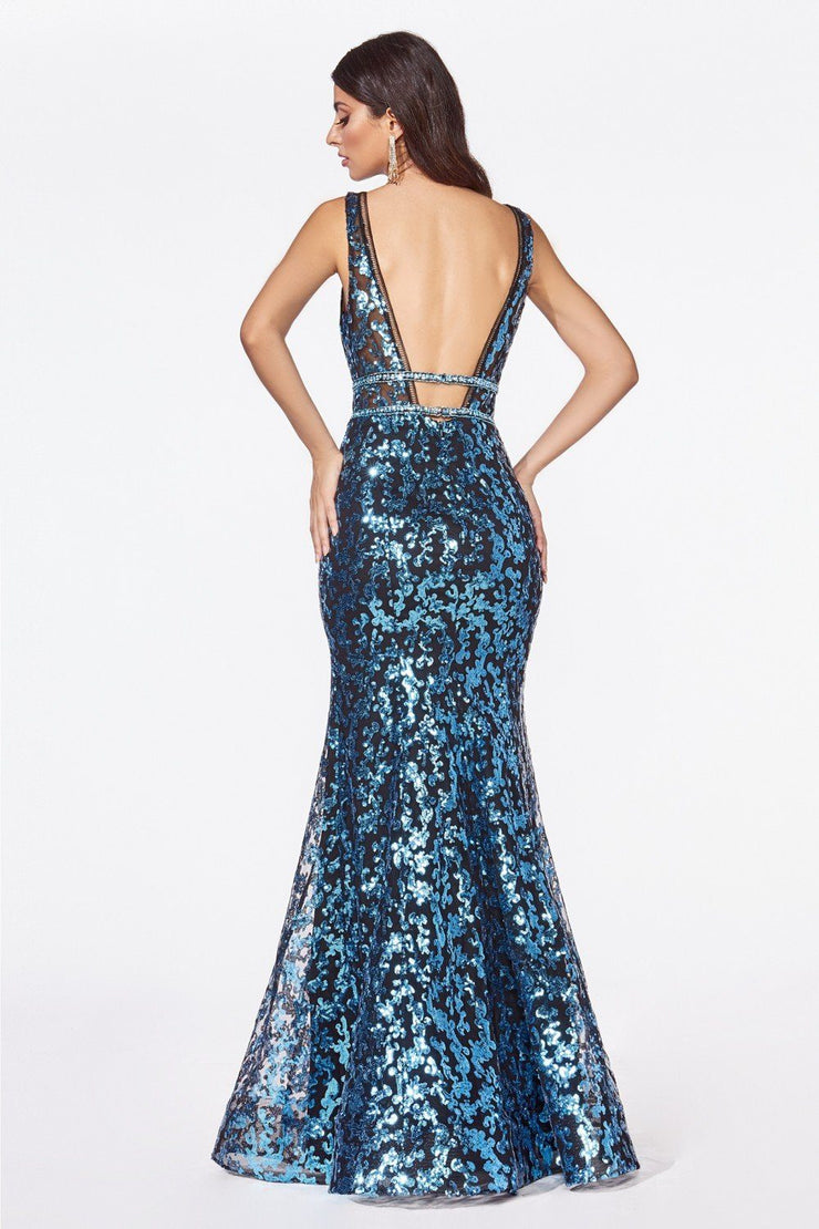 Sequin Print Mermaid Dress with Open Back by Cinderella Divine CM9171-Long Formal Dresses-ABC Fashion
