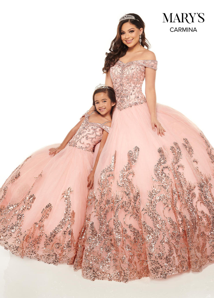 Sequin Print Off Shoulder Quinceanera Dress by Mary's Bridal MQ1075