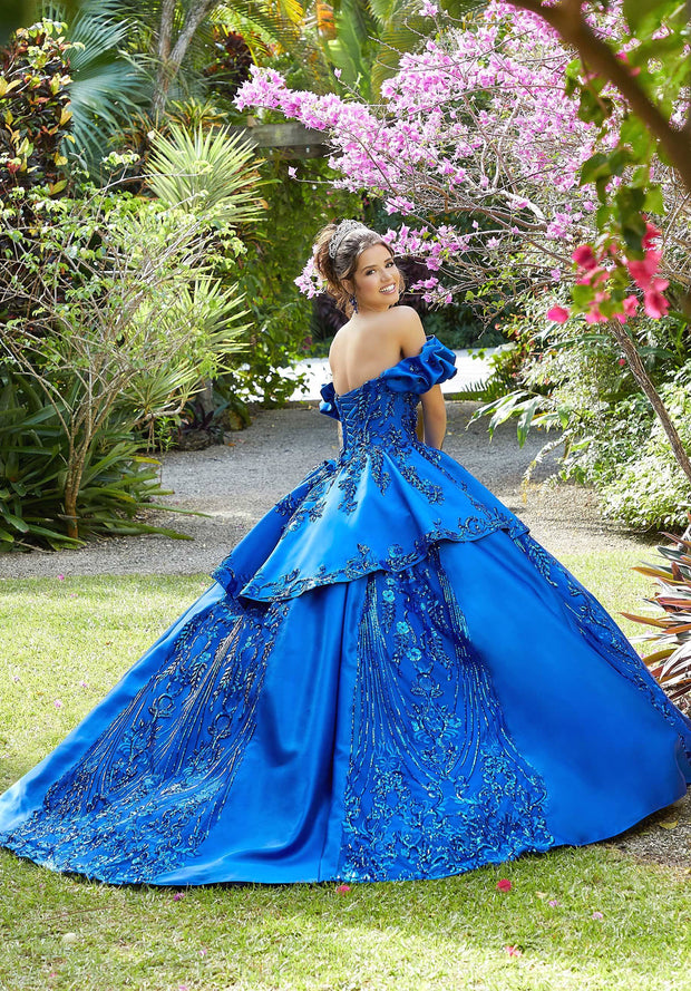Sequin Print Satin Quinceanera Dress by Mori Lee Vizcaya 89285