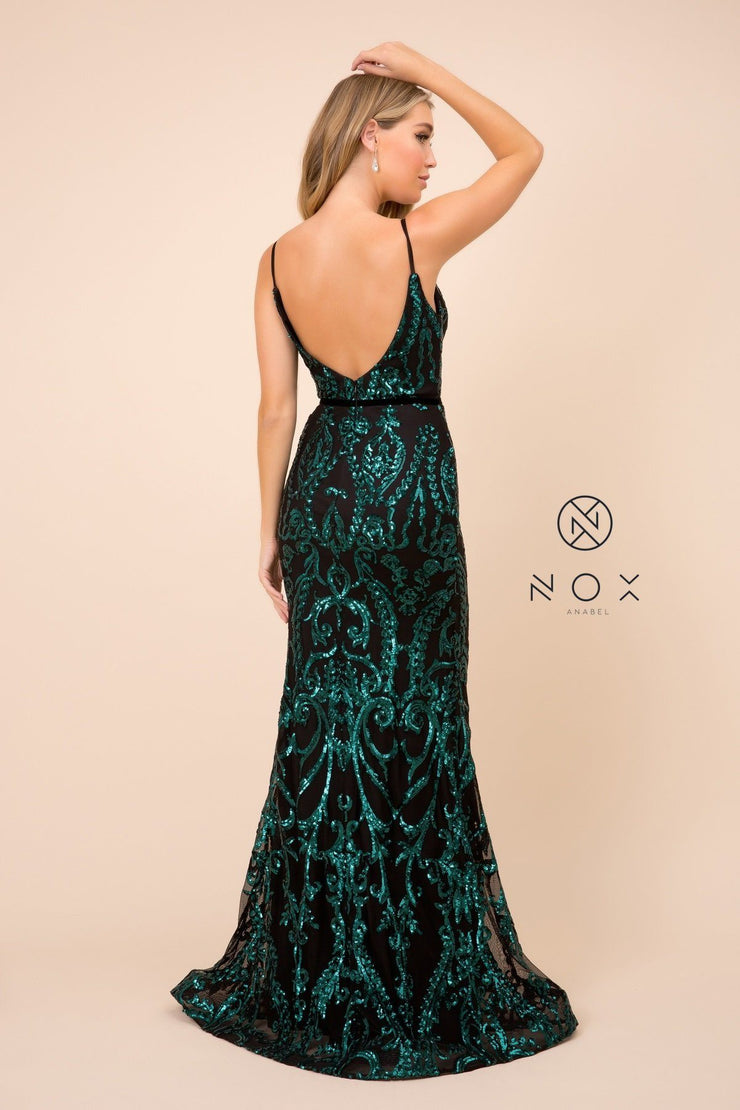 Sequin Print Sleeveless Trumpet Gown by Nox Anabel P417