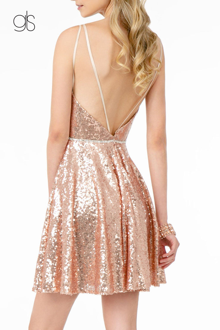 Sequin Short Deep V-Neck Dress by Elizabeth K GS2847