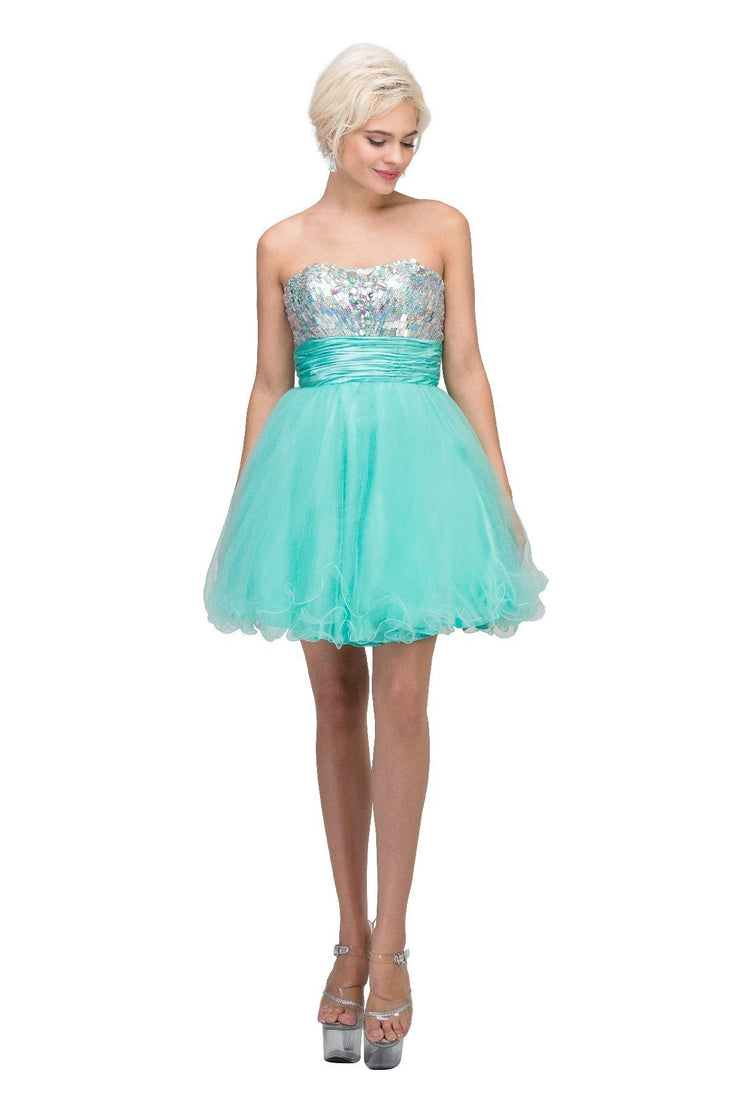 Sequin Short Strapless Dress with Ruffled Skirt by Star Box 6035-Short Cocktail Dresses-ABC Fashion