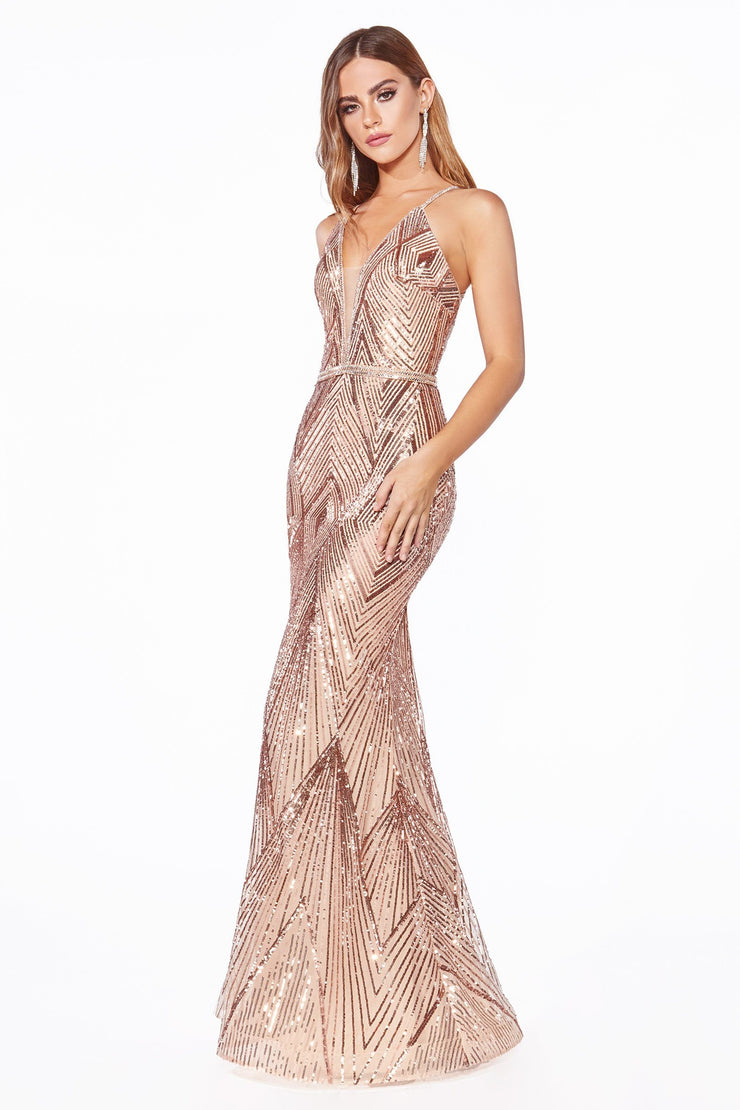 Sequin Strappy Back Mermaid Gown by Cinderella Divine J9665