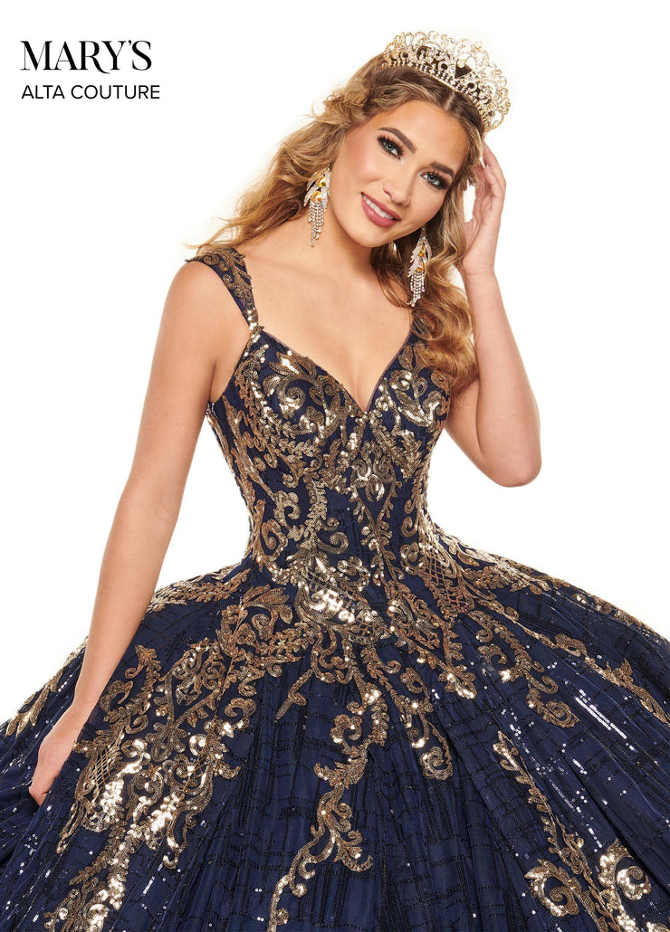 Sequin V-Neck Quinceanera Dress by Alta Couture MQ3057
