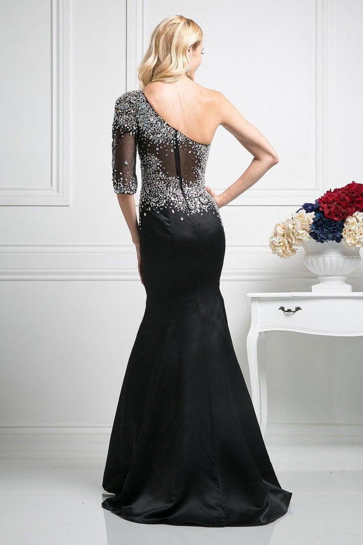 Sequined Asymmetric Trumpet Dress by Cinderella Divine 8789-Long Formal Dresses-ABC Fashion
