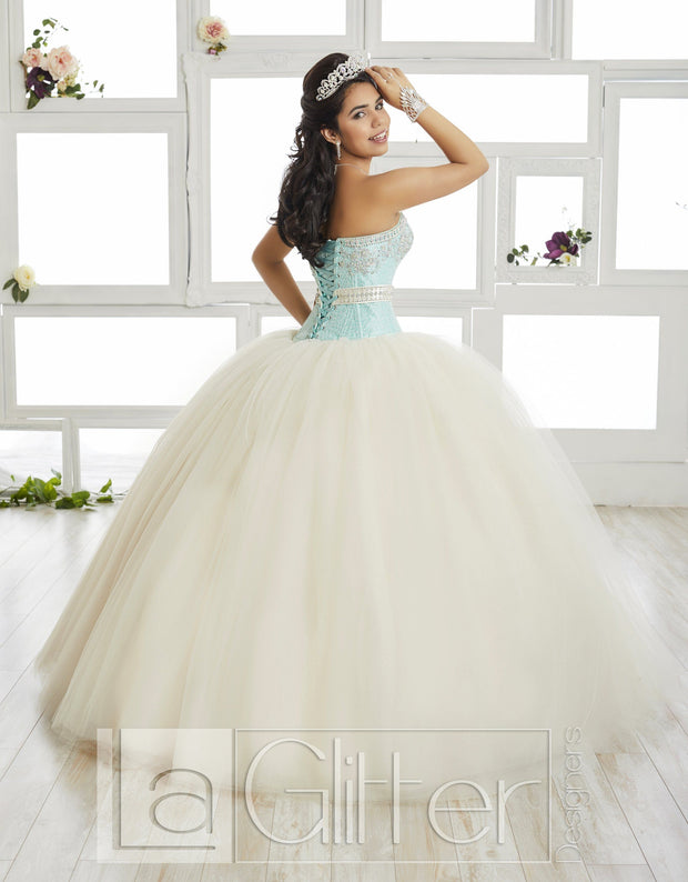 Sequined Bodice Strapless Dress by House of Wu LA Glitter 24016-Quinceanera Dresses-ABC Fashion
