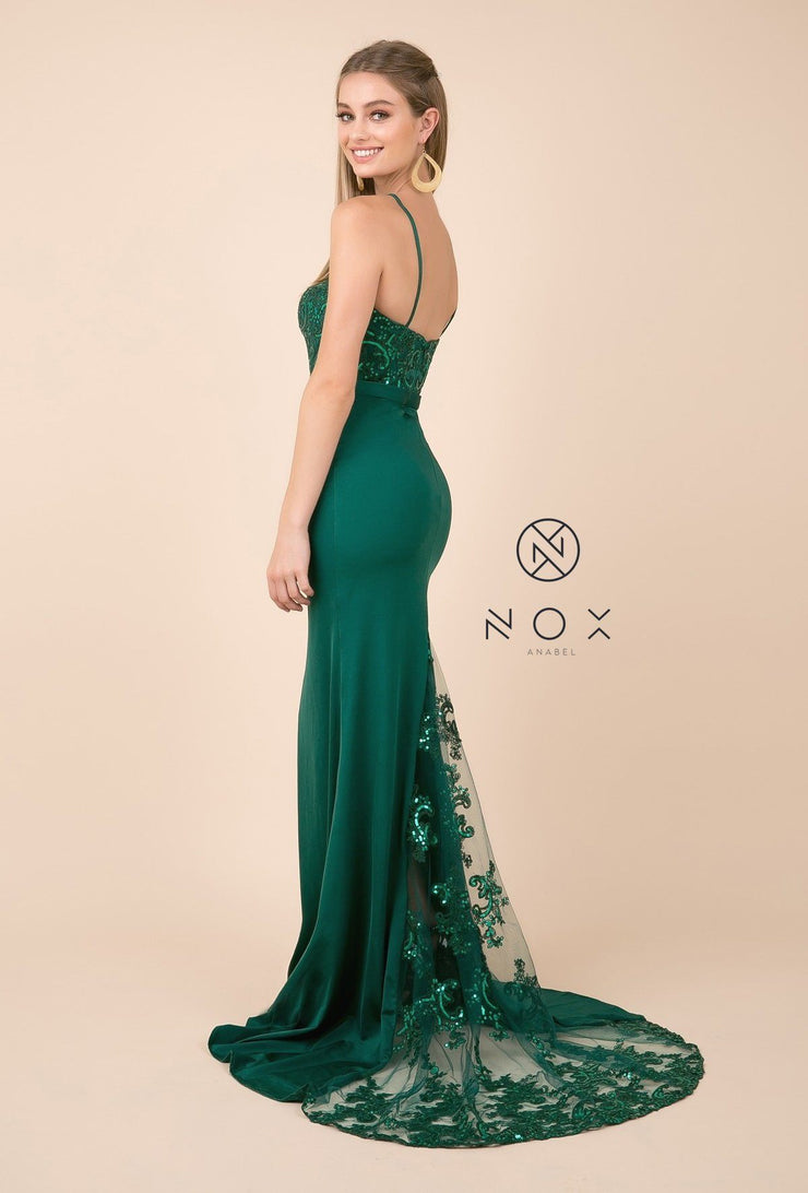 Sequined Lace Trumpet Dress with Sheer Train by Nox Anabel E276-Long Formal Dresses-ABC Fashion