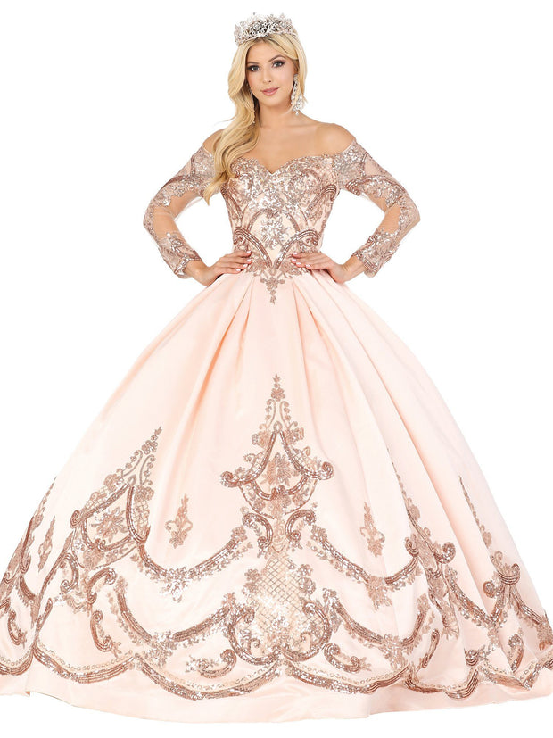 Sequined Long Sleeve Ball Gown by Dancing Queen 1531