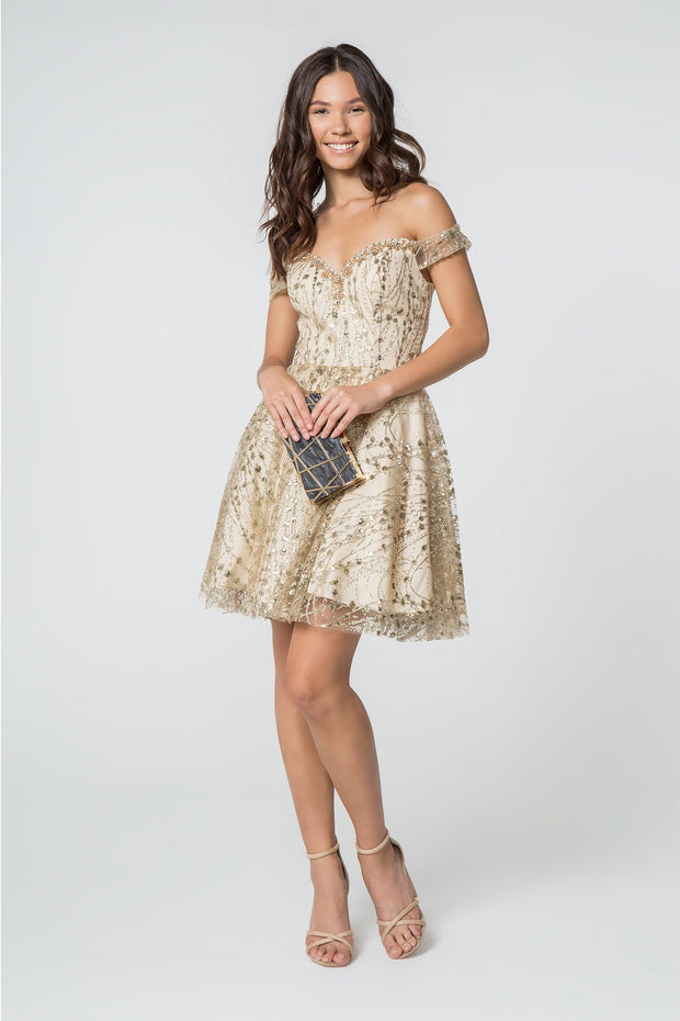 Sequined Short Off Shoulder Glitter Dress by Elizabeth K GS2833-Short Cocktail Dresses-ABC Fashion