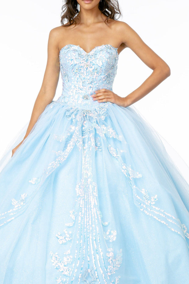 Sequined Sweetheart Strapless Ball Gown by Elizabeth K GL2947-Quinceanera Dresses-ABC Fashion