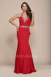 Sexy Beaded V-Neck Mermaid Dress by Nox Anabel 8315-Long Formal Dresses-ABC Fashion