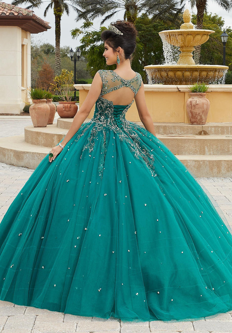 Sheer Cap Sleeve Quinceanera Dress by Mori Lee Valencia 60094-Quinceanera Dresses-ABC Fashion