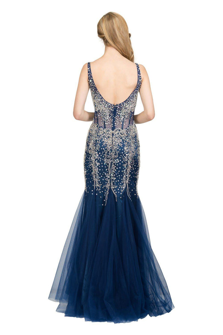 Sheer Long Beaded Mermaid Dress with Open Back by Star Box 6134-Long Formal Dresses-ABC Fashion
